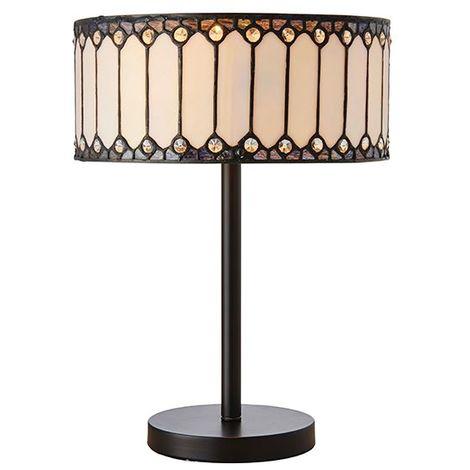 Fargo Medium Table Lamp 40W Bronze Steel Base And Beige Drum Shade