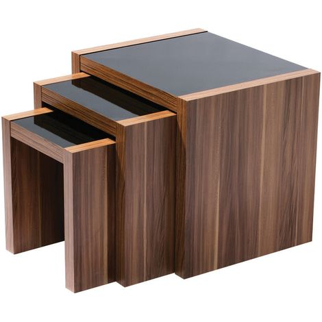Fargo Nest of 3 Tables,Walnut Veneer,Black High Gloss Detail