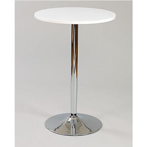 Farley Tall White Poseur Shiny Chrome Frame White Round Table Top