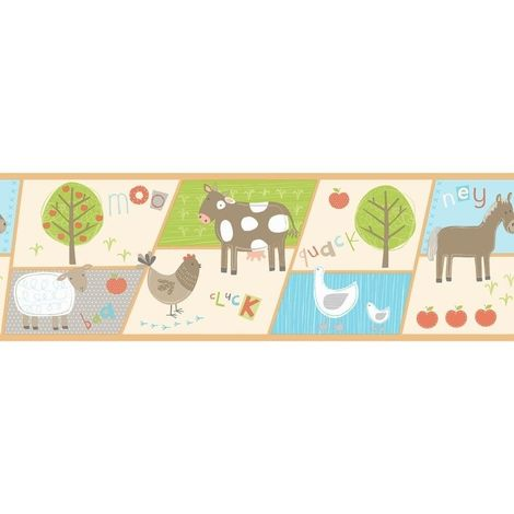 Farm Animals Wallpaper Border Kids Nursery Boys Girls Fine Decor Hoopla