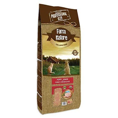 Farm Nature Pienso seco para Perros Cachorros y Junior. FN Pavo y Pollo con Arroz Junior - Todas Las Razas - 18 kg