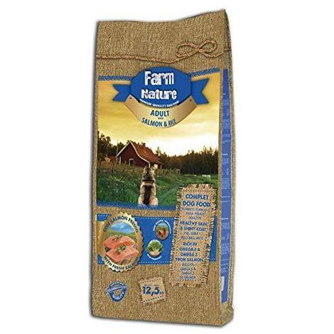 Farm Nature Pienso seco para Perros. FN Salmón con Arroz - Todas Las Razas - 12,5 kg