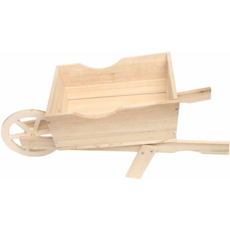 Farmyard style wooden wheelbarrow planter