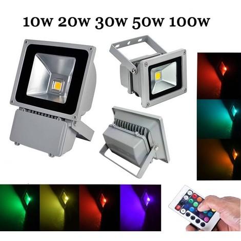 FARO RGB ESTERNO LED SLIM MULTICOLOR RISPARMIO ENERGIA 10 20 30 50 WATT IP66