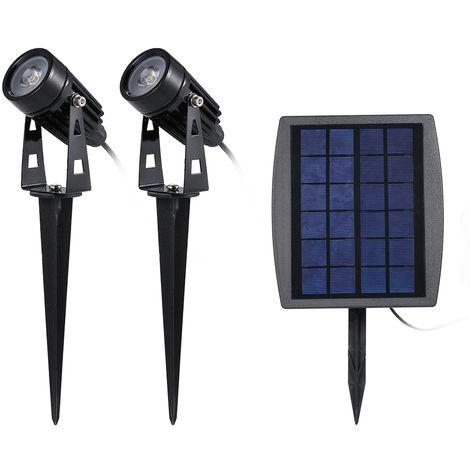 Faro de luz accionada solar del cesped Doble LED solar 120-140 lumen IP65 por agua ligera a prueba de lampara del paisaje del jardin con la Insercion de poste por Camino al aire libre Patio Patio, blanco calido
