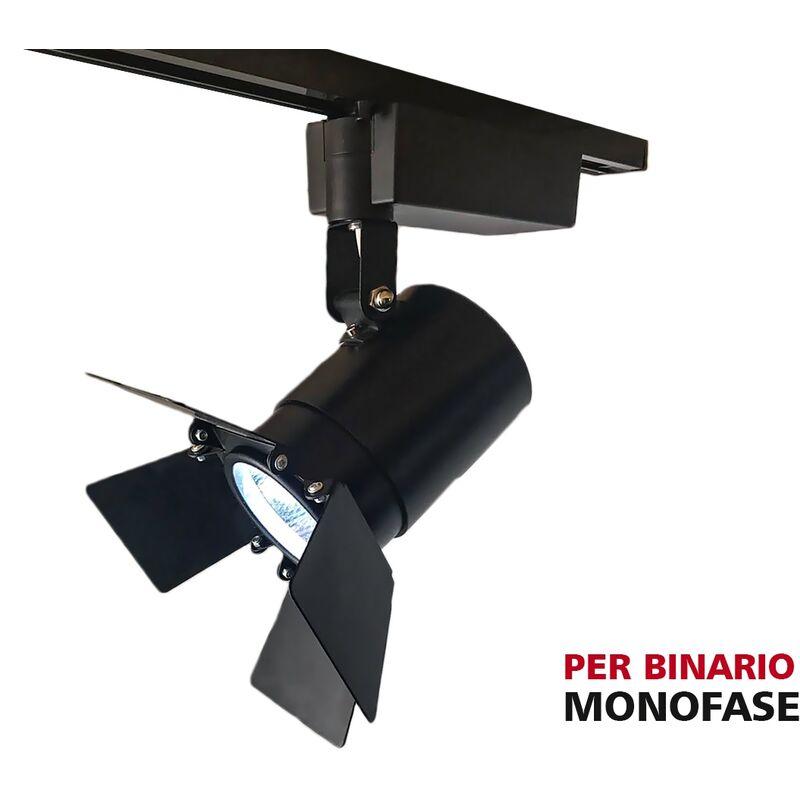 LEDLUX CB3018N Faro Lampada Led A Binario 30W Bianco Neutro Carcassa Nera Mono Fase Angolo 24 Gradi Con Riflettore Regolabile