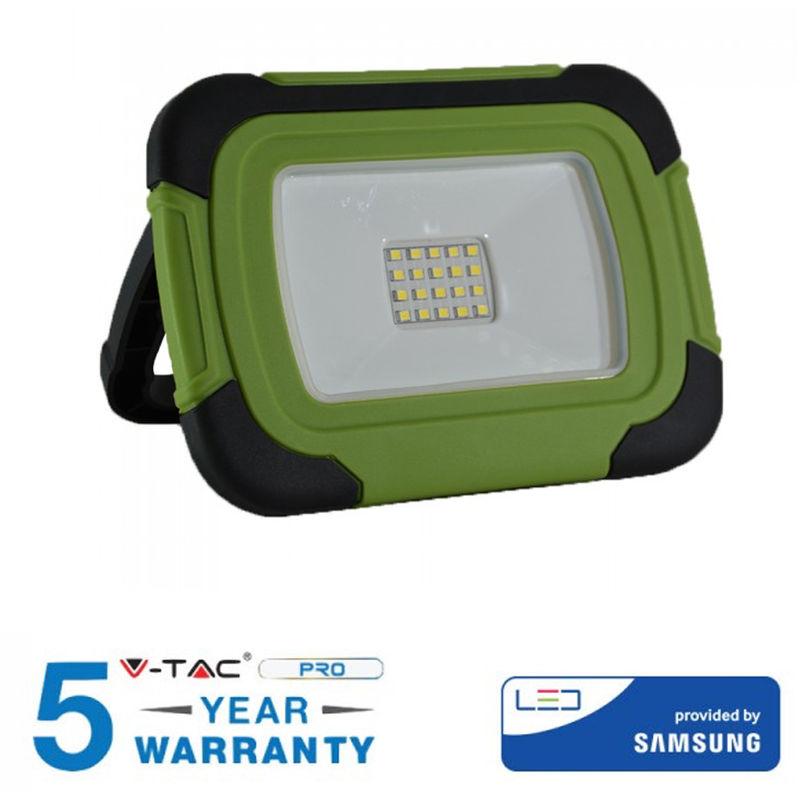 Faro LED 10W V-TAC VT-10-R Chip Samsung Ricaricabile Colore Nero e Verde 6400K IP44