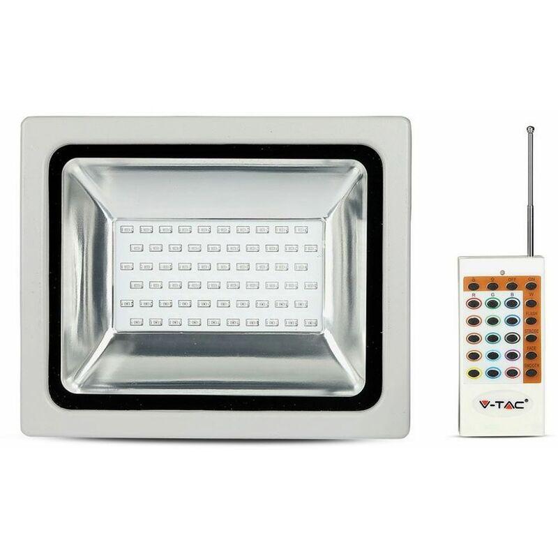 Faro LED V-TAC SMD 30W RGB con Telecomando Radiofrequenza Colore Grigio IP65