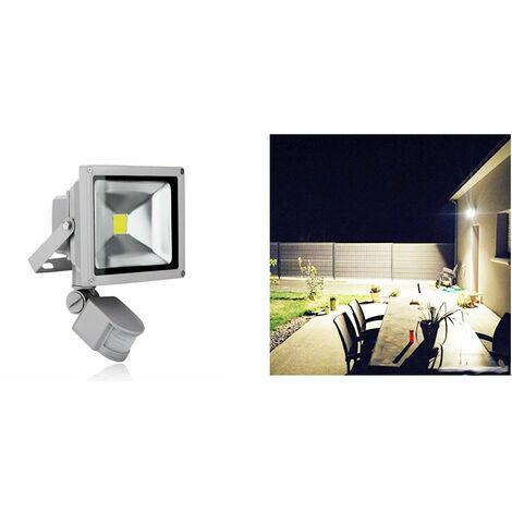 Faro led cob 20w faretto esterno luce fredda crepuscolare sensore movimento FY