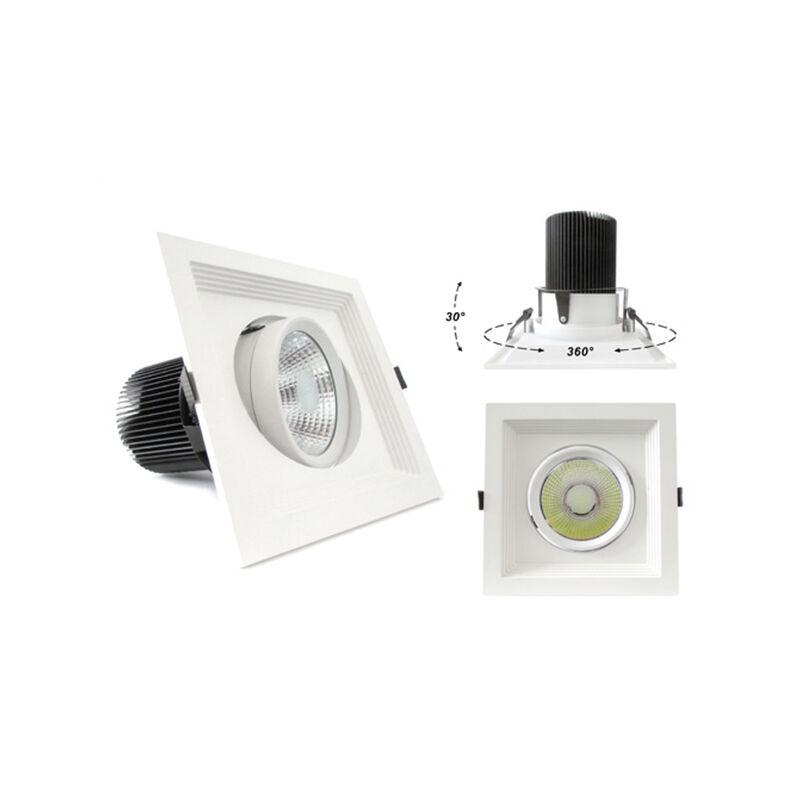 LEDLUX LC7430C Faro Led Da Incasso COB 30W 220V Bianco Caldo Quadrato Orientabile Con Riflettore
