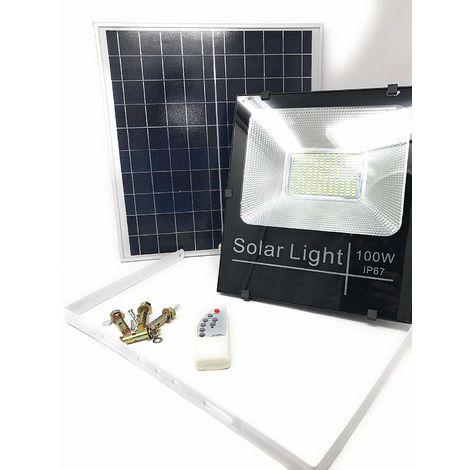 Faro Led Smd 100 W Pannello Solare Energia Crepuscolare Telecomando Dr [Classe Di Efficienza Energetica A]