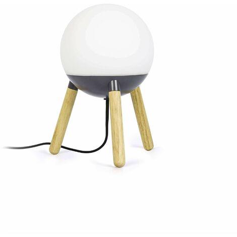 Faro Mine - 1 Light Table Globe Lamp White, Wood, E27