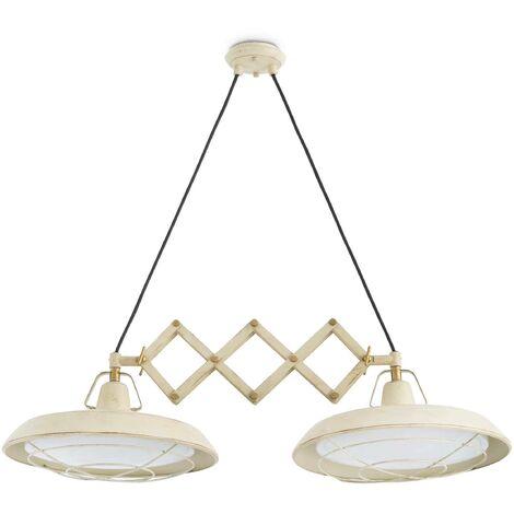 Faro Plec - LED 2 Light Double Adjustable Outdoor Dome Ceiling Pendant Light Off-White IP44