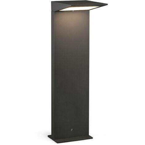 Faro Soleil - Outdoor Dark Grey Bollard Solar Panel Light IP54
