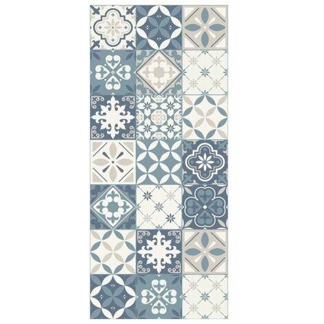 FARO Tapis 100% vinyle - Motif carreaux de ciment - 49,5 x 112,5 cm - Epaisseur 1.5mm - Bleu
