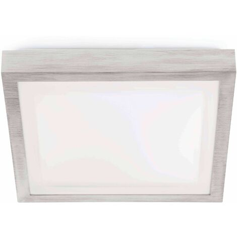 Faro Tola-1 - 1 Light Small Square Bathroom Flush Ceiling Light Aluminium, White IP44, E27