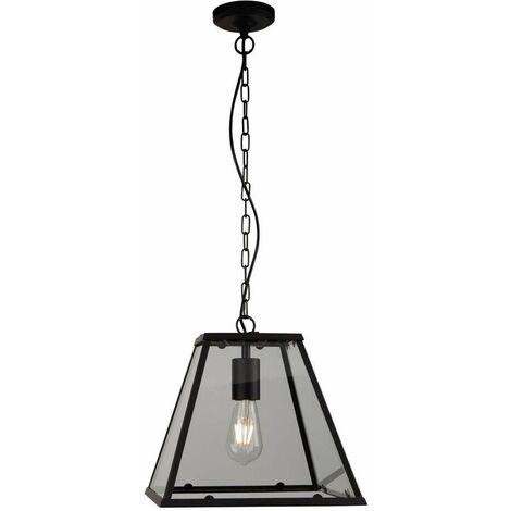 Farol, lámpara colgante de 1 llama con marco negro mate pintado negro mate