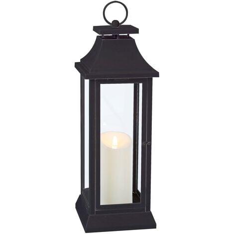 Farol portavelas de jardín LED industrial negro de 54x17x17cm