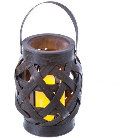 Farol portavelas de jardín LED oriental marrón de 23x15 cm