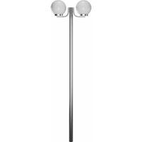Farola blanca de jardín, 220 cm, 2 globos de luz