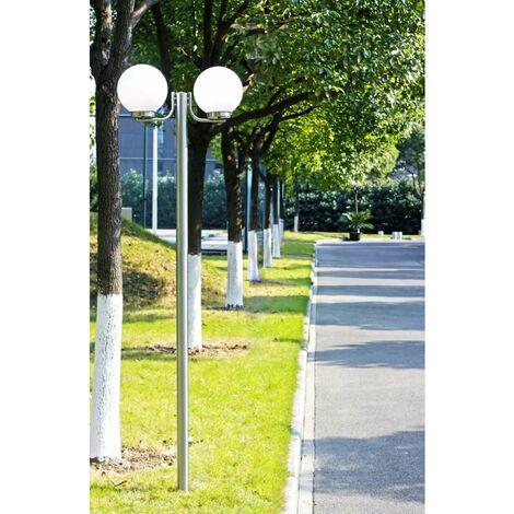 Farola blanca de jardín, 220 cm, 2 globos de luz HAXD26156
