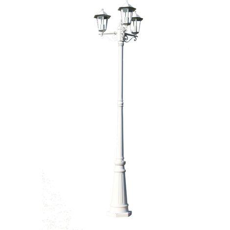 Farola de jardín 3 brazos aluminio blanco 215 cm