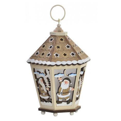 Farola de Madera Navidad con Luces LED, Decoración Navideña. Diseño Original, 2 Modelos a elegir (12x12x17,5cm) - Hogar y Más Dorado