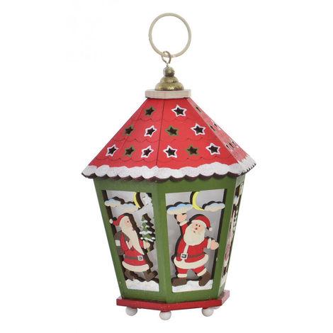 Farola de Madera Navidad con Luces LED, Decoración Navideña. Diseño Original, 2 Modelos a elegir (12x12x17,5cm) - Hogar y Más Rojo