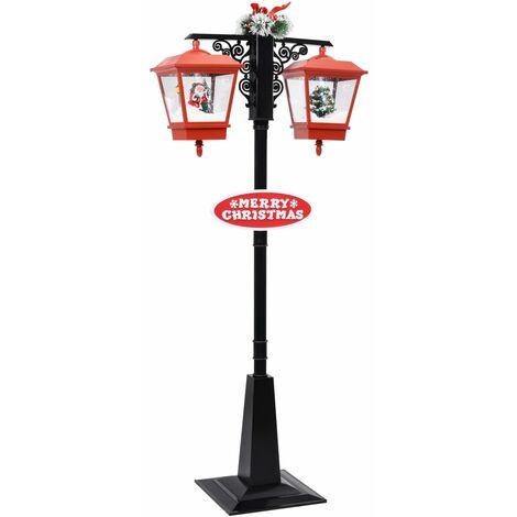 Farola de Navidad con Papá Noel PVC negro y rojo 81x40x188 cm