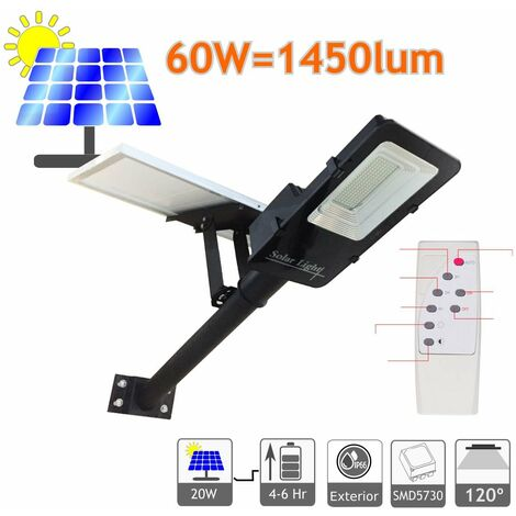 Farola solar 60W panel orientable 6000K exterior ion-litio