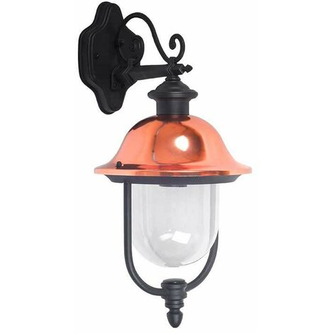 Farolillo de pared Vintage para bombilla LED DOWN E27 IP44 Negro