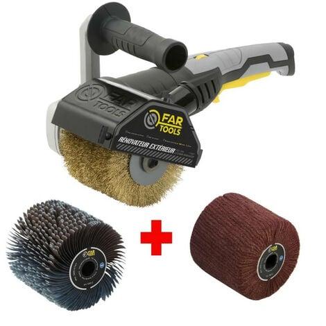 FARTOOLS Pack 615127 : Rénovateur REX120C + brosse nylon et lanieres - Spécial bois, métal et pierre - Surfaces planes ou com…