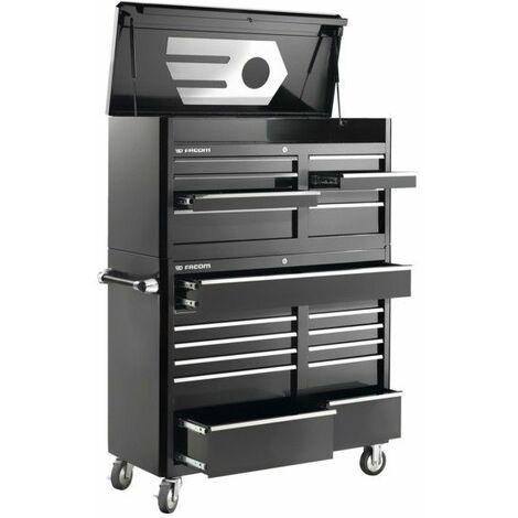 FAS.21BKPB. Servante US + coffre de 21 tiroirs noire/chrome 3659.87