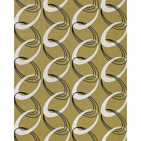 Fashion retro rings wallpaper wall textured 70s style EDEM 1017-15 vinyl olive green white black