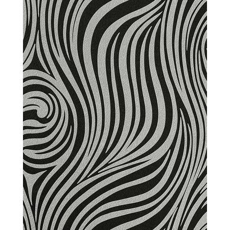 Fashion zebra style wallpaper wall EDEM 1016-16 texture striped vinyl extra washable black silver-grey