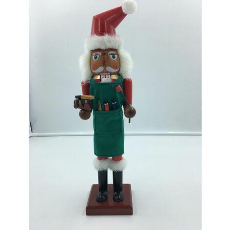 Father Christmas 38cms Wood Xmas Santa Claus Nutcracker Carpenter Toy Maker