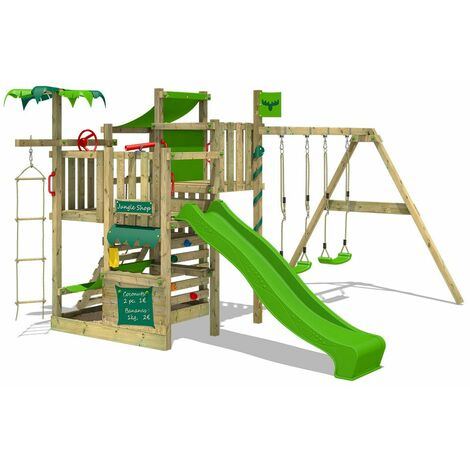 FATMOOSE Aire de jeux Portique bois CrazyCoconut avec balançoire et toboggan vert pomme Échafaudage grimpant avec bac à sable, mur d'escalade & accessoires de jeux