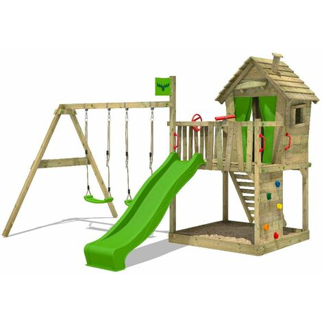 FATMOOSE Aire de jeux Portique bois DonkeyDome avec balançoire et toboggan vert pomme Maison enfant exterieur avec bac à sable, échelle d'escalade & accessoires de jeux