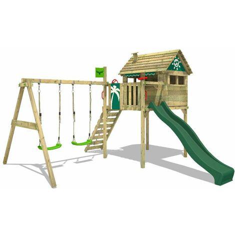 FATMOOSE Aire de jeux Portique bois FunFactory avec balançoire et toboggan vert Maison enfant sur pilotis avec échelle d'escalade & accessoires de jeux