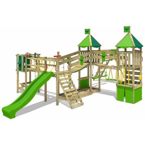 FATMOOSE Aire de jeux Portique bois FunnyFortress avec balançoire SurfSwing et toboggan vert pomme Maison enfant exterieur avec bac à sable, échelle d'escalade & accessoires de jeux