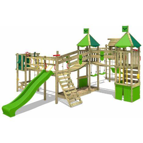 FATMOOSE Aire de jeux Portique bois FunnyFortress avec balançoire TowerSwing et toboggan vert pomme Maison enfant exterieur avec bac à sable, échelle d'escalade & accessoires de jeux