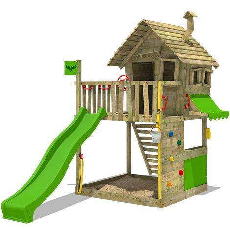 FATMOOSE Aire de jeux Portique bois GroovyGarden avec toboggan vert pomme Maison enfant exterieur avec bac à sable, échelle d'escalade & accessoires de jeux