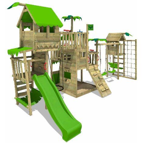 FATMOOSE Aire de jeux Portique bois PacificPearl avec balançoire TowerSwing et toboggan vert pomme Maison enfant exterieur avec bac à sable, échelle d'escalade & accessoires de jeux