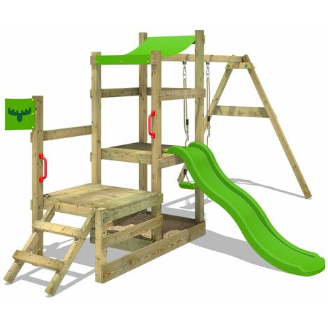 FATMOOSE Aire de jeux Portique bois RabbitRally avec balançoire et toboggan vert pomme Maison enfant exterieur avec bac à sable, échelle d'escalade