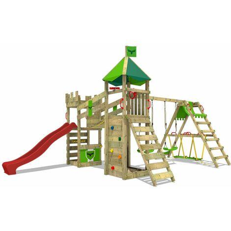 FATMOOSE Aire de jeux Portique bois RiverRun avec balançoire SurfSwing et toboggan rouge Maison enfant exterieur avec bac à sable, échelle d'escalade & accessoires de jeux
