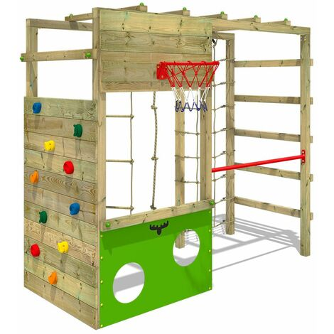 FATMOOSE Wooden climbing frame CleverClimber , Garden playhouse with sandpit, climbing wall & play-accessories