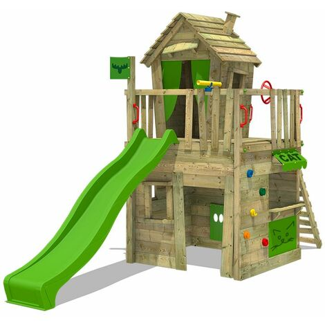FATMOOSE Climbing frame CrazyCat Comfort XXL with slide and play tower