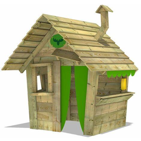 FATMOOSE HippoHouse Heavy XXL Casa de juego de madera con chimenea y mostrador verde manzana