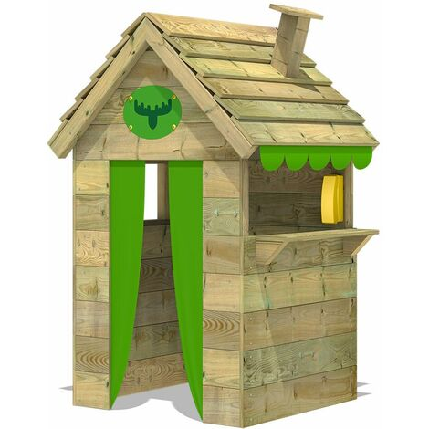 FATMOOSE MEGA-SALE Wodden Playhouse BeetleBox Bling XXL with high counter and chimney, Garden Playhouse for kids, Clubhouse for children, Wendy House