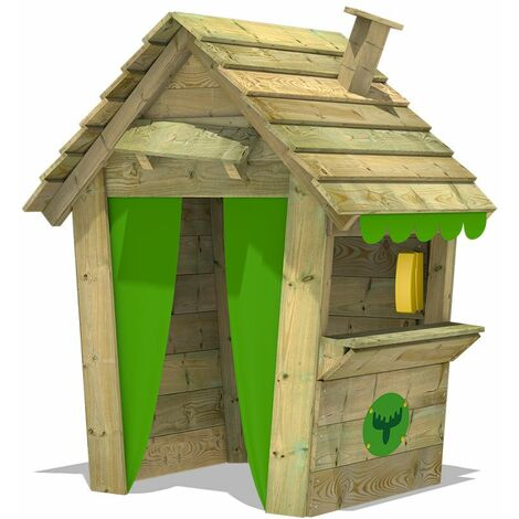 FATMOOSE MEGA-SALE Wodden Playhouse PandaPark Pro XXL with chimney and shop counter, Garden Playhouse for kids, Clubhouse for children, Wendy House